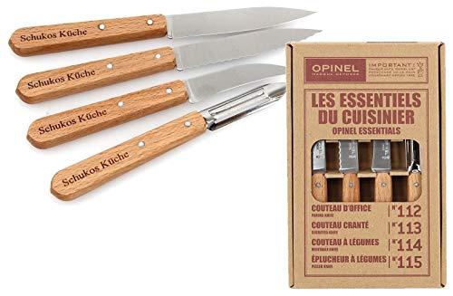 Opinel Küchenmesser Set, rostfrei, Geschenk Idee mit individueller Gravur