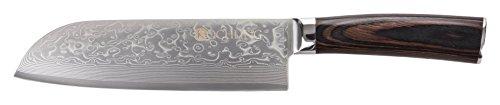 Kochling Damast Messer mit Pakkaholzgriff - 67 Lagen damaszener Santoku Messer 180mm