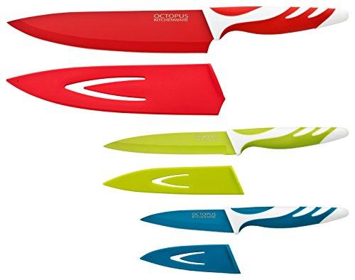 Küchenmesser-Set - 3 Qualitäts-Messer mit Klingenschutz - anti-haft-beschichtet - hygienisch, einfach zu säubern, extra scharf, rutschfeste Griffe - Kochmesser, Allzweckmesser-Fleischmesser, Schälmesser-Gemüsemesser