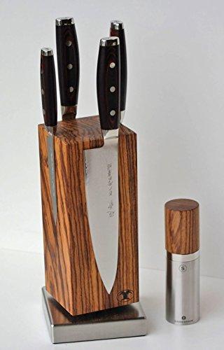 """Blockwerk Magnet Messerblock """"Monolith"""" Zebrano + 4 Yaxell Super Gou 161 Damastmesser + Salzmühle Zassenhaus mit Keramikmahlwerk"""