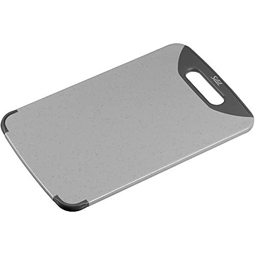 Silit 2142235330 Schneidebrett mit 1 Griff, hochwertiger Kunststoff, 32 x 20 cm, grau