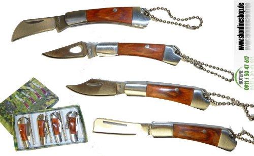 Mini Messer-Set * Jäger ** SUPER SCHARF 4 Stück / Schlüsselanhänger