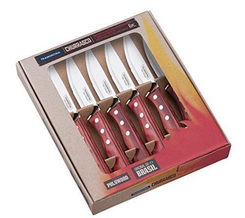 Tramontina 21199/770 Jumbo-Steakmesser-Set, 6-teilig, 5 Zoll mit roten Griffen 3-fach vernietet