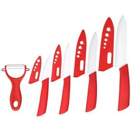"""Keramik Küchenmesser Set 5-Teilig 3""""4""""5""""6"""" Kochmesser und 1 Schäler, Rot - 1"""