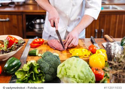 Fleisch Gemüse kontaminiert durch Messer